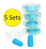 Banzaa Earplugs Foam 10 Stuks 5 Setjes van 2 in Stevig Bewaarbakje – 2cm – Kneed Oordopjes voor Gehoorbescherming – Oorplugs – Blauw