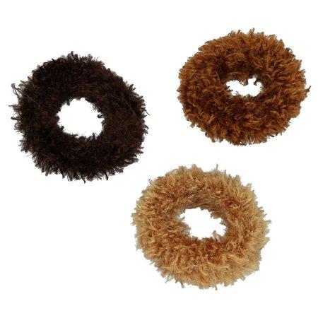Banzaa Haar Elastiekjes Bewaarpop met Haarelastiekjes – Bruin – 20x6x4cm | Elastische Bandjes Bewaren | 3 Verschillende Formaten Haarbandjes
