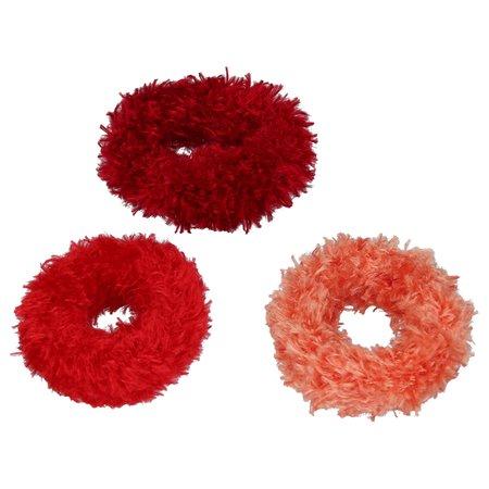 Banzaa Haar Elastiekjes Bewaarpop met Haarelastiekjes – Rood – 20x6x4cm | Elastische Bandjes Bewaren | 3 Verschillende Formaten Haarbandjes