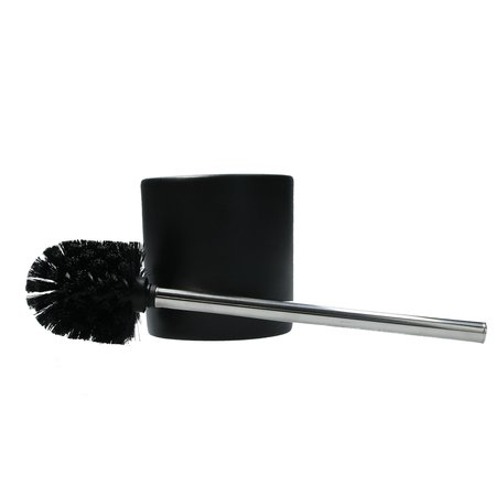Banzaa Premium Porseleinen Toiletborstelhouder met RVS Toiletborstel - 40x16cm -Mat Zwart