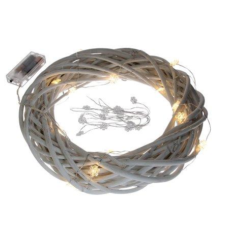 banzaa 20 led verlichting warm Wit zilverdraad met IJsbloemen-2.20m