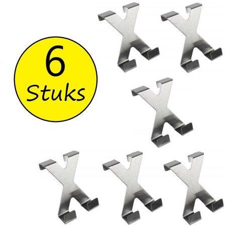 Banzaa Dubbele Deurhaken van RVS Edelstaal 6 Stuks – 7x5cm   Badhaken   Ophanghaken voor Handdoeken   Badkamer Haken   Keuken Haken   Handdoekhaken