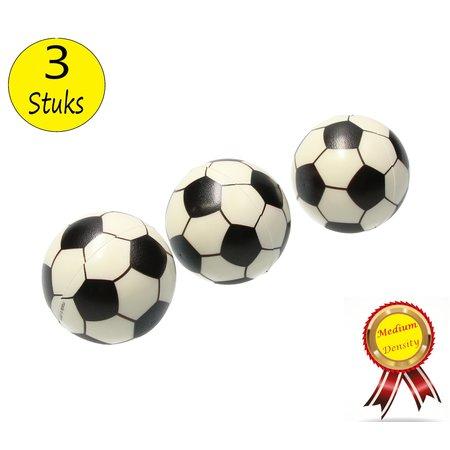 Banzaa Stressbal Medium Density Voetbal 3 Stuks – Sensomotorische Stimulatie – Anti-Stress – Wit
