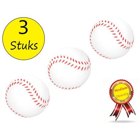 Banzaa Stressbal Medium Density 3 stuks – Sensomotorische Stimulatie – Anti Stress – Baseball