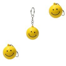 Stressballen Sleutelhanger set 3 stuks Smiley Geel