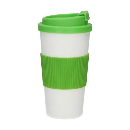 Banzaa Thermo Koffie en Theebeker voor Onderweg wit groen – 18x9x9cm | Thermokop voor het Meenemen van Koffie of Thee | Thermo mok | Houdt uw Koffie Warm tijdens het Rijden