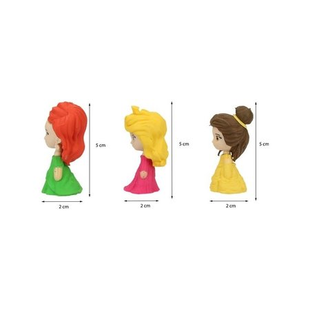 Disney Princess Disney Princess 4-delige 3D Gummen Set voor Meisjes - 5x2x2cm - 4 Stuks