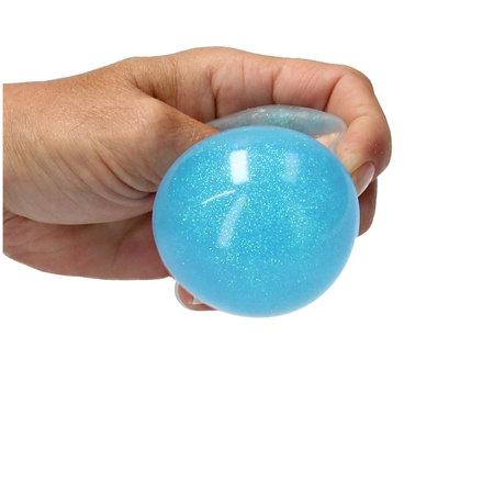 Banzaa Slijm Bal met Glitters 2 Stuks – Squishy – Stressbal – Knijp Speelgoed – Blauw