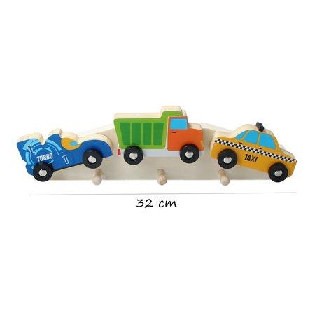 The Toycompany Houten Kapstok ‒ Kinderkapstok ‒ Auto voertuigen 32 cm