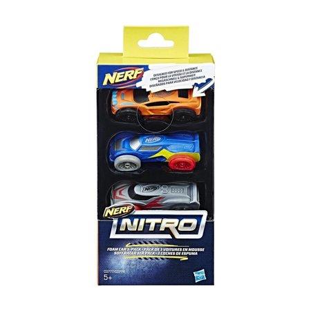 Nerf NERF Nitro Schuimauto's 3 stuks - oranje, grijs en blauw
