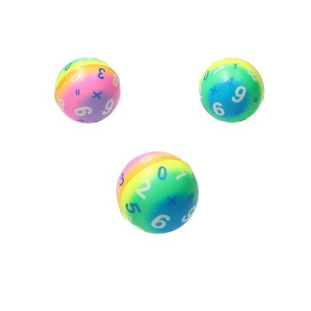 Banzaa Stressbal Medium Density – 6 cm – Sensomotorische Stimulatie – Anti Stress – 3 stuks – Regenboog Cijfers
