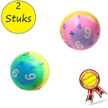 Banzaa Stressbal Medium Density – 10 cm – Sensomotorische Stimulatie – Anti Stress –2 stuks – Regenboog Cijfers