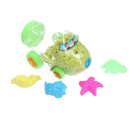 Banzaa  Magisch Speelzand –  Zand in opberg vliegtuig met vormpjes – Magic Sand 350 Gram Geel
