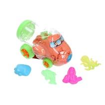 Magisch Speelzand –  Zand in opberg vliegtuig met vormpjes – Magic Sand 350 Gram Oranje