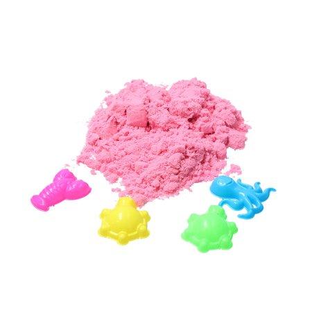 Banzaa Magisch Speelzand – Zand in opberg vliegtuig met vormpjes – Magic Sand 350 Gram Roze