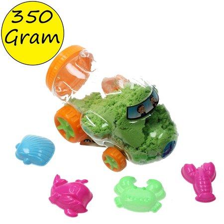 Banzaa Speelzand in opberg Vliegtuig met vormpjes – Bewegend Modelleer zand 350 Gram Groen