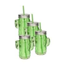 Glazen cactus drinkglas met deksel en rietje 350ml lichtgroen - 4 stuks