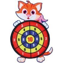 Toi-Toys - Dartbord klittenband - kat - incl. 3 ballen 28x44cm