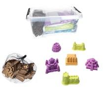 Speelzand 3 KG Modelleer Zand in Bak met 6 kasteel mallen