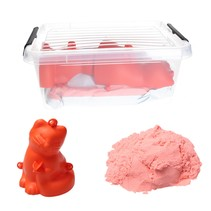 Moving Sand Speelzand Roze 2.5 KG Modelleer Zand in Bak + Mal Poes