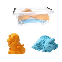 Moving Sand Speelzand Blauw 2.5 KG Modelleer Zand in Bak + Mal Leeuw