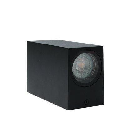 Banzaa Banzaa Wandlamp 2x Led GU-10 5,5w Warm Wit ‒ Dubbele lichtbundel Dimbaar ‒ Rechthoek 15cm Zwart