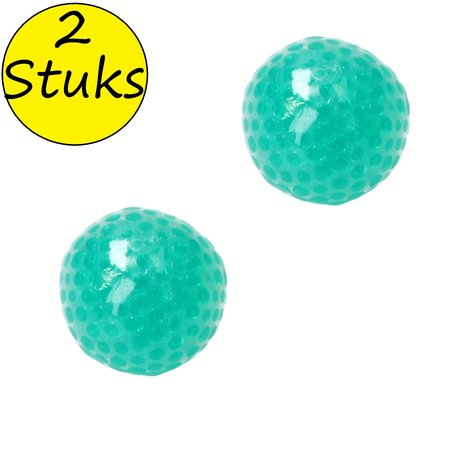 Banzaa Banzaa Anti stressbal Orbeez Mesh 7cm ‒ NEW Extra Dikke Ballon ‒ Set 2 Stuks Groen