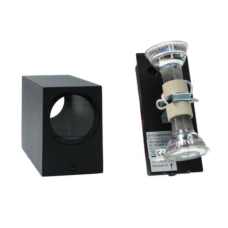 Banzaa Banzaa Wandlamp Set 2 stuks ‒ IP54 Armatuur 2x GU-10 Dubbele lichtbundel ‒ Rechthoek 15cm Zwart