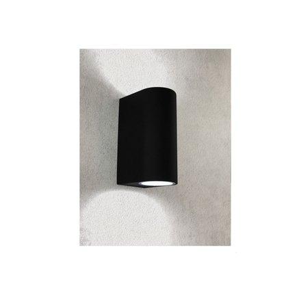 Banzaa Banzaa Wandlamp Set 2 stuks ‒ IP54 Armatuur 2x GU-10 Dubbele lichtbundel ‒ Rond 15cm Zwart
