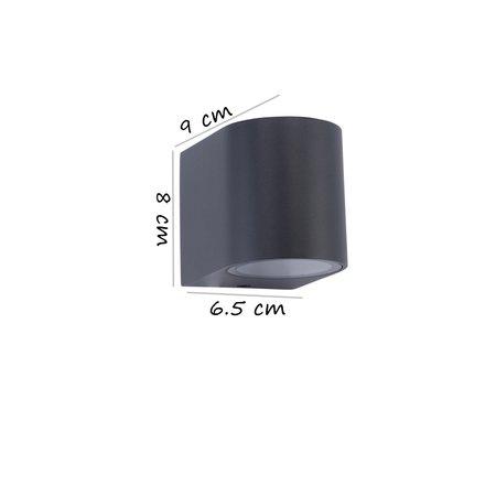 Banzaa Banzaa Wandlamp Set 2 stuks ‒ IP54 Armatuur GU-10 Enkele lichtbundel ‒ Rond 9cm Antraciet