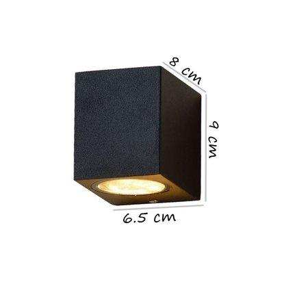 Banzaa Banzaa Wandlamp Set 2 stuks ‒ IP54 Armatuur GU-10 Enkele lichtbundel ‒ Rechthoek 9cm Zwart