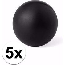 5 zwarte anti stressballetjes 6 cm - stressbal