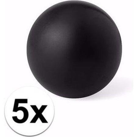 Banzaa 5 zwarte anti stressballetjes 6 cm - stressbal