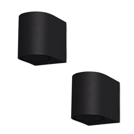 Banzaa Banzaa Wandlamp Set 2 stuks ‒ IP54 Armatuur GU-10 Enkele lichtbundel ‒ Rond 9cm Zwart