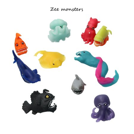 Banzaa Banzaa Fidget Zeemonster ‒ Anti stress Knijp Speelgoed ‒ Rood, Paars