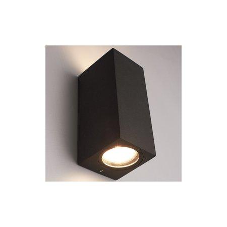 Banzaa Banzaa Wandlamp Set 2 stuks ‒ IP54 Armatuur 2x GU-10 Dubbele lichtbundel ‒ Rechthoek 15cm Antraciet