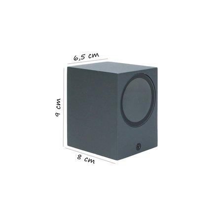 Banzaa Banzaa Wandlamp Led GU-10 5,5w Warm Wit ‒ Enkele lichtbundel Dimbaar ‒ Rechthoek 9cm Antraciet.