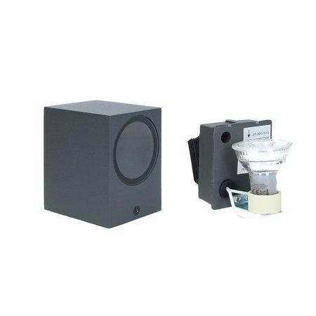 Banzaa Banzaa Wandlamp Set 2 stuks ‒ IP54 Armatuur GU-10 Enkele lichtbundel ‒ Rechthoek 9cm Antraciet