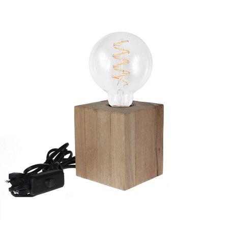 Banzaa Tafellamp hout Design by Banzaa ‒ Dimbare Filament e27 4W Warm Wit ‒  Eiken 9x23 cm