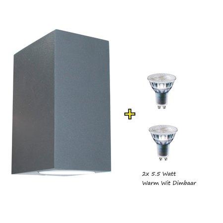 Banzaa Banzaa Wandlamp 2x Led GU-10 5,5w Warm Wit ‒ Dubbele lichtbundel Dimbaar ‒ Rechthoek 15cm Antraciet