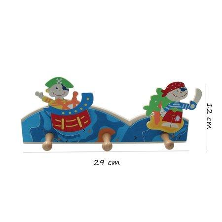 Banzaa kapstok piraat - kinderkapstok - 3 haken - stoer - 29 cm