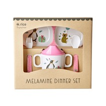 Melamine Baby Dinner Set Giftbox - Pink Party Animal Print