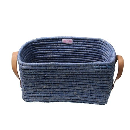Rice Raffia Rectangular Basket w. Leather Handle - Blue