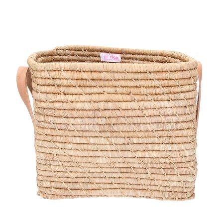 Rice  Raffia Small Square Basket w. Leater Handles L30xB30XH25 - Tea