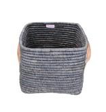 Rice  Raffia Small Square Basket w. Leater Handles L30xB30XH25 - Dark Grey
