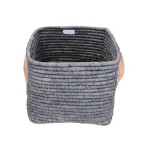 Raffia Small Square Basket w. Leater Handles L30xB30XH25 - Dark Grey