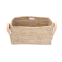 Raffia Rectangular Basket w. Leather Handle  L35xB23xH17 - Tea