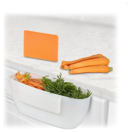Relaxdays opvangbak voor keukenafval - afvalbak met spatel - 2 liter - bakje - emmertje wit
