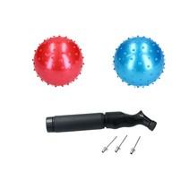 Educatieve stekelige Bal – 2 stuks met Pomp  – Rood, Blauw 15cm