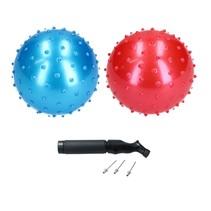 Educatieve stekelige Bal – 2 stuks met Pomp  – Rood, Blauw 20cm